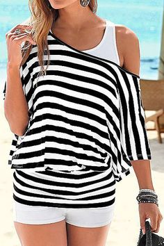 Boat Neck Batwing Sleeve Striped T-Shirt