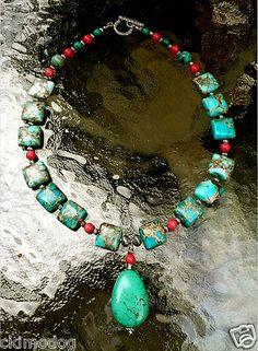 Genuine Aqua Sea Sediment Jasper Pink Coral & Turquoise Pendant Jewelry Set  $45.99