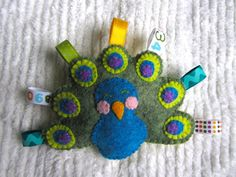 Felt Peacock Baby Rattle....put it in a quiet book