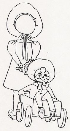 Girl Pulling Doll in Wagon