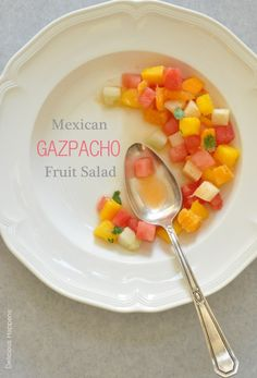 THIS MEXICAN GAZPACHO FRUIT SALAD IS COMPLETELY ADDICTING.  TROPICAL FRUITS WITH LIME JUICE AND CILANTRO.  PLATES BEAUTIFULLY FOR BRUNCH!!  THEHARVESTKITCHEN.COM