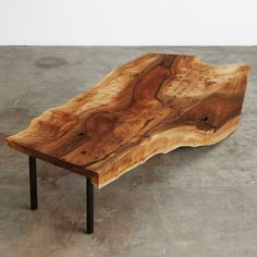 English walnut single slab one fold coffee table with black steel pipe legs #UrbanHardwoods #SalvagedWood