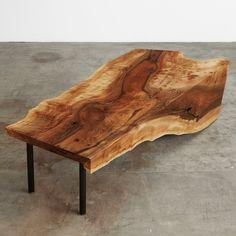 English walnut single slab one fold coffee table with black steel pipe legs #UrbanHardwoods #SalvagedWood