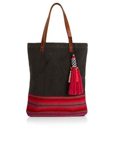 Rio Woven Leather Handle Shopper Bag | Multi | Accessorize