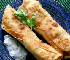 Chicken Flautas with Cilantro Lime Sauce and Homemade Tortillas - we made these for New Years Eve, really good.