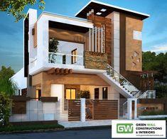Green Wall Constructions and Interiors, Gandhipuram Coimbatore - Builders in Coimbatore - Justdial House Balcony Design, House Main Gates Design, Modern Exterior House Designs, Latest House Designs, Duplex House Design, House Front Design, Exterior Design, Front Elevation Designs, House Elevation