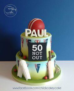 - cake by CakeyCake Cricket Birthday Cake, Cricket Theme Cake, 60th Birthday Cakes, Dad Cake, 50th Cake, Bithday Cake, Sport Cakes, Baking Business, Fairy Cakes