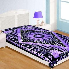 purple sun and moon tapestry wall hanging dorm room tapestry twin bedding-Jaipur Handloom