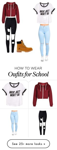 """To school"" by myatentyon on Polyvore featuring H&M and Timberland"