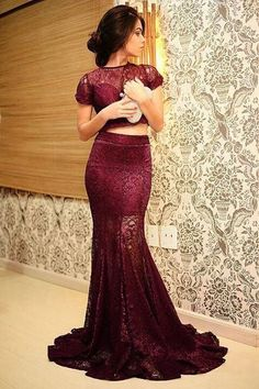 Pd01072 Charming Prom Dress,O-Neck Prom Dress,Two-Pieces Prom Dress,Lace Prom Dress,Mermaid Evening Dress