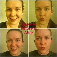 Today was day 2 of wearing #lipsense for me so I figured I'd share a little before/after pic and my first impressions of it.  . The before picture was taken at 10am this morning immediately after application. The after picture was taken at 8:30pm. So 10 1/2 hours later and after two meals a couple of snacks multiple drinks lots of kisses and a workout. I did not reapply the color at all during the day but I did put the gloss on a few times since my lips were dry and they're already starting…