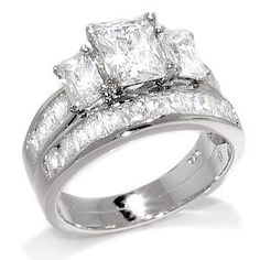 I love the three stone for the past, present, and future and the princess cut!