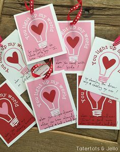 You Light Up My World free Valentine Printables. A great Valentine card that is fun to write messages for all those you love. Print these for family, friends and neighbors and leave them sweet messages.