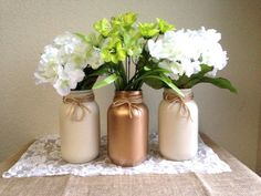 St. Patrick's Day Vases Cream and Gold Mason by STITCHandCABOODLE, $32.00