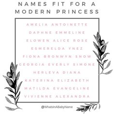 names girl pretty Cute Baby Names, Pretty Names, Unique Baby Names, Modern Princess, Baby Girl Names, Kid Names, Aesthetic Names, Southern Baby Names, Gender Neutral Names