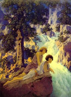Maxfield Parrish,Waterfall, 1930  Best Friends Forever
