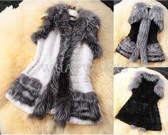 Damen Winter Faux Pelz Weste Mantel Westen Outwears Jacket Jacke Fell HUK