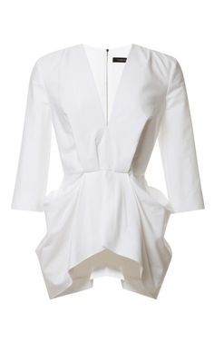 Unconventional White Shirt -V-Neck Gathered Waist Top by Thakoon - Moda Operandi Ms Project, Fashion Details, Fashion Design, White Shirts, Passion For Fashion, Ready To Wear, Style Inspiration, Stylish, My Style
