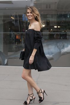 Pin for Later: 43 Chic Summer Outfits That Are Perfect For 30-Somethings An off-the-shoulder LBD and heels
