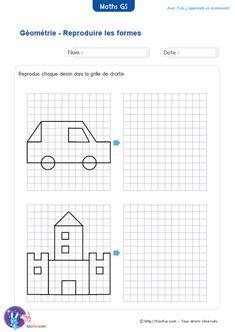 Fiche Maternelle Maths GS Reproduction sur un quadrillage, pour entraîner la capacité de l'enfant à observer, puis reproduire une forme sur un quadrillage.