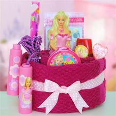 themed gift baskets ideas | Just for Girls Barbie Towel Cake - Barbie Themed Gift