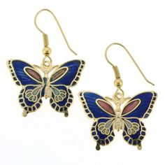 Gold Plated Butterfly Cloisonne Earrings - 27mm Width - Blue - Fishhook Backings Angel Mountain Group - Earrings. $9.95