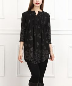 Look at this Black & Gray Leaves Notch Neck Tunic on #zulily today!