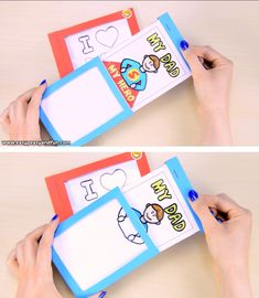 How to Make a DIY Father's Day Magic Card (Template Included.-How to Make a DIY Father's Day Magic Card (Template Included) – Easy Peasy and Fun This Father's day magic card is the coolest thing ever! Diy Arts And Crafts, Creative Crafts, Fun Crafts, Paper Crafts, Magic Crafts, Paper Toys, Creative Kids, Diy Paper, Diy For Kids