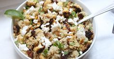 quinoa salad with charred cauliflower, dates, pine nuts, feta, lime - Chef Sarah Ashley Schiear