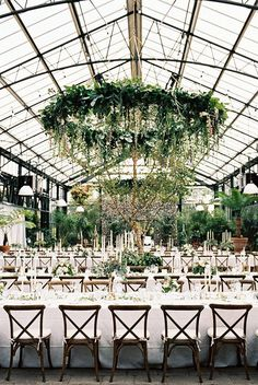 Greenery Wedding Ideas That Are Actually Gorgeous---greenhouse wedding with hanging greenery chandelier, diy wedding reception with greenery centerpieces, spring fall and summer wedding decorations, Secret Gardens wedding theme Wedding Locations, Wedding Themes, Wedding Tips, Wedding Events, Wedding Planning, Wedding Decorations, Wedding Designs, New York Wedding Venues, Michigan Wedding Venues