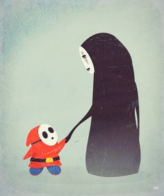 Shy Guy meets No Face by Sarah Carr Design My Own Tattoo, Kawaii Games, Mario Tattoo, Ghost Boy, Wolf Children, Shy Guy, Video Game Art, Video Games, Weird And Wonderful