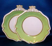 Fine Pair Early 19th c. English Regency Flight & Barr Worcester Porcelain Dessert Dishes