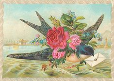 Bird with letter (A really, really great resource for finding vintage images)...