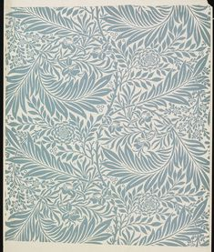 Wallpaper | Designed by William Morris (1834-1896) for Morris & Co. (publisher) | England, Great Britain, 1874-1875 | Block-printed in distemper colours, on paper. Specimen of 'Larkspur' wallpaper, a foliate design with flowers, blue on a pale ground | VA Museum, London