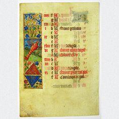Mittelalterliches Pergamentblatt aus einem reich verzierten französischen Stundenbuch. Ein Kalenderblatt des Monats Juni mit sehr filigraner beidseitiger Miniaturmalerei und üppiger Goldverzierung. Sehr schönes Unikat, herausgegeben in Nordfrankreich um 1480.  ABMESSUNGEN: Blatt ca. H 15,1 cm x B 10,6 cm