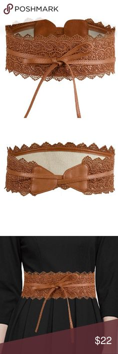 """🌴BROWN BOHO BELT🌴 🌴BOHO BELT FEATURING LACE SOFT FAUX LEATHER, WRAP AROUND TIE FASTENING, CHICH WAIST FOR HOURGLASS SHAPE  🌴AVAILABLE IN WHITE, BROWN & BLACK 🌴FITS SIZES 2-18 OVERALL LENGTH 90.8 AND 4"""" WIDE Accessories Belts"""