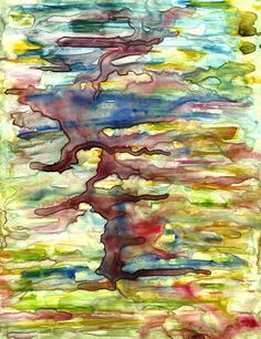 Spirit Tree original abstract watercolor painting