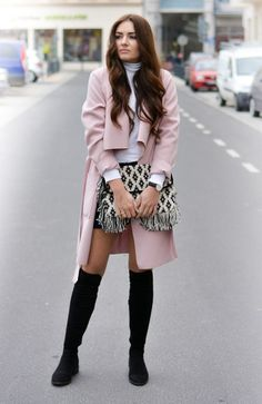 @roressclothes closet ideas #women fashion outfit #clothing style apparel Chic Winter Outfit Idea with Pink Coat and High Boots