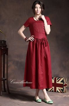 Long Pleated Linen Dress in Red / Maxi Cocktail by camelliatune, $79.00