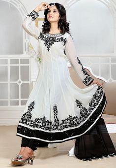 White Faux Georgette Anarkali Semi-stitched Churidar Kameez @ $162.80