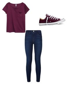 """Black cherry ❤️"" by asiarobards on Polyvore featuring Frame Denim, H&M and Converse"