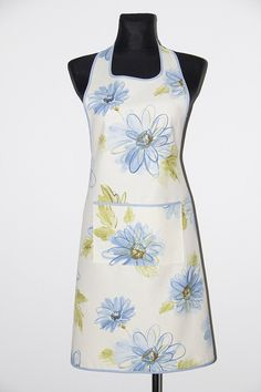 Handmade apron, kitchen apron. Blue flowers apron. Pinafore