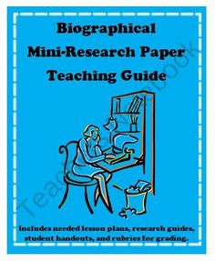 Biography Mini-Research Paper Teaching Guide with Student Handouts and Samples product from Kirks-Corner on TeachersNotebook.com School Resources, Teaching Resources, Teaching Ideas, Language And Literature, Language Arts, School Items, School Stuff, Research Paper Help, High School Writing