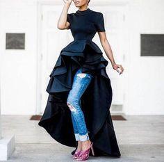 Black jersey dress / Cascading double peplum top / Peplum