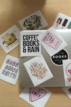 Book lovers, get ready to geek out over these fabulous laptop stickers. All our favorite things are right here in these little vinyl beauties. Easy to apply, a cinch to peel off, and they leave no gross sticky residue behind. They last forever and don't fade in the sun! How perfect is that?