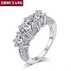White Gold Plated  AAA CZ Bijoux Fashion Wedding & Engagement Ring Jewelry For Women As Promise Gift ZYR497
