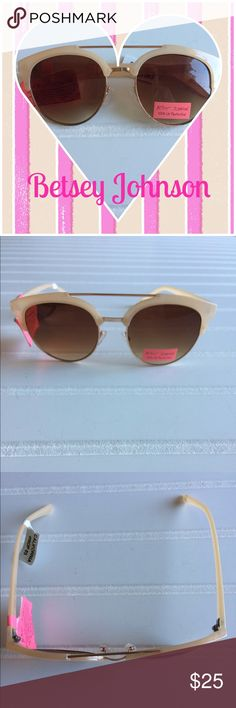 🆕 NWOT Betsey Johnson round brow bar sunglasses Betsey Johnson cream colored round brow bar sunglasses.   Gradient lens.   No case.   100% UV Protection   Offers welcome   Thanks for stopping by my closet. Betsey Johnson Accessories Sunglasses
