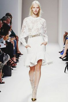 Pencil skirt with ruffle hem - definitely a major trend right now.  (balmain spring-summer 2014, paris)