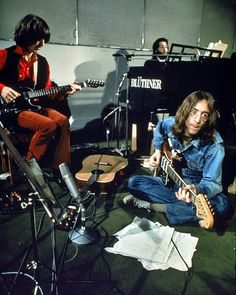 The Beatles at Abbey Road studios druing the Let It Be sessions.