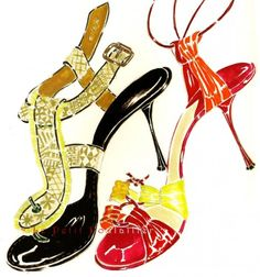 Manolo Blahnik Shoe Prints Fashion Lithographs To Frame, Pl 155-6 | PetitPoulailler - Paper on ArtFire